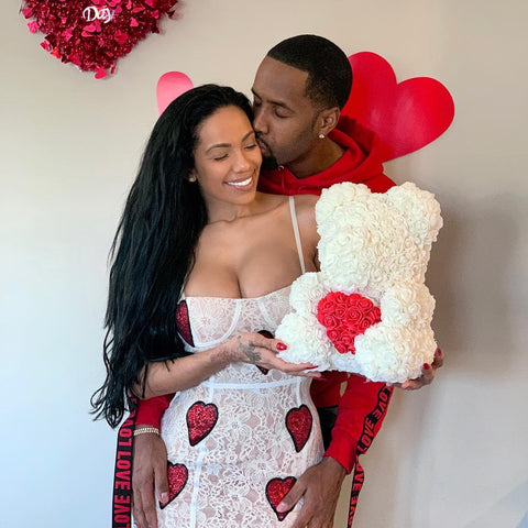 Erica Mena & Safaree with White Love Heart Rose Bear