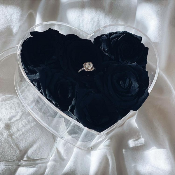 Bloom Box six black with engagement ring