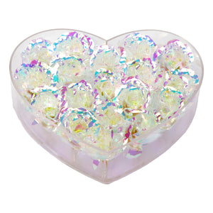Galaxy Rose Heart in Clear Acrylic Box
