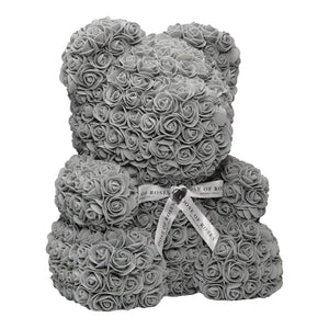 Gray Rose Teddy Bear