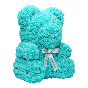 Tiffany Blue Rose Bear Side