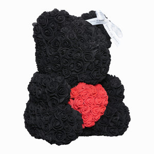 Black Love Heart Rose Bear Side