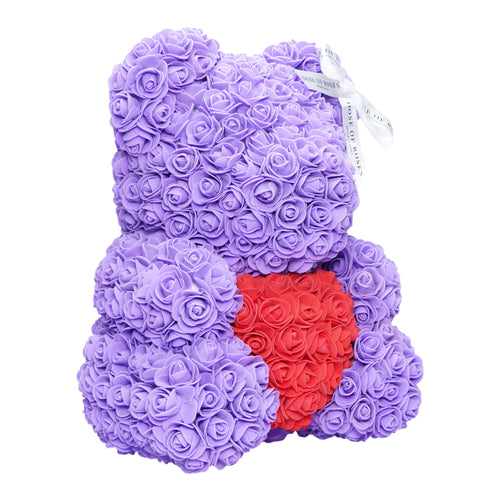 Dose of Roses - Purple Love Heart Rose Bear -