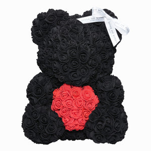 Black Love Heart Rose Bear