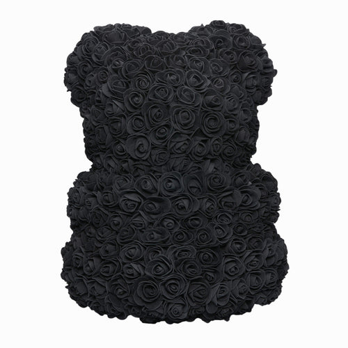 Dose of Roses - Black with White Heart Rose Bear -