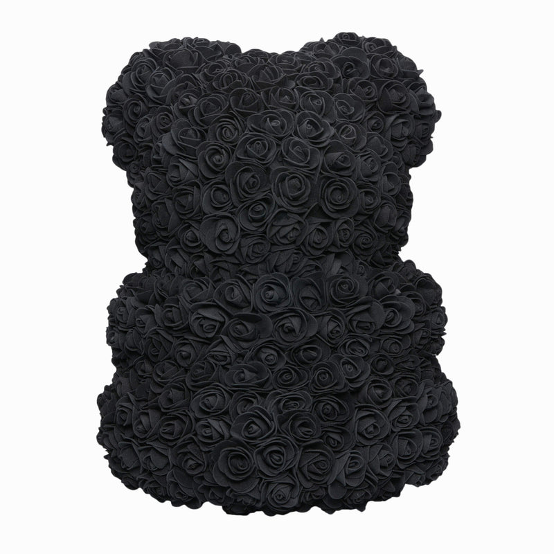 Dose of Roses - Black with White Heart Rose Teddy Bear -