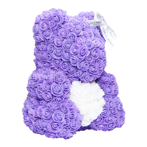 Purple & White Love Heart Rose Bear Side