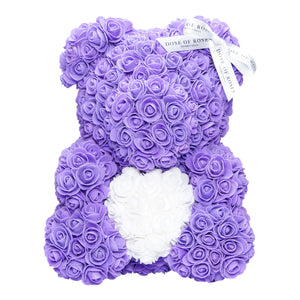 Purple & White Love Heart Rose Bear