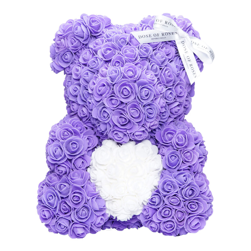 Dose of Roses - Purple with White Heart Rose Teddy Bear -