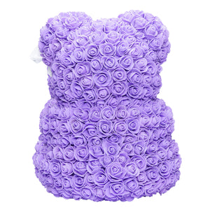Purple & White Love Heart Rose Bear Back