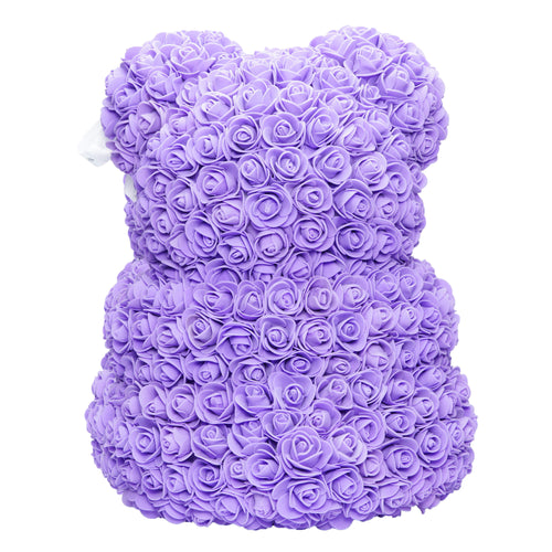 Dose of Roses - Purple with White Heart Rose Bear -