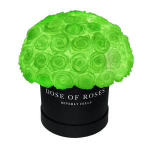 Glow in the Dark Eternity Roses in Medium Round Black Leather Box