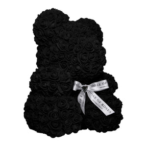 Medium Black Rose Bear Side