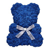 Medium Royal Blue Rose Bear