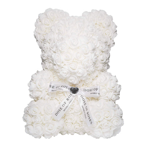 Dose of Roses - White Rose Bear -