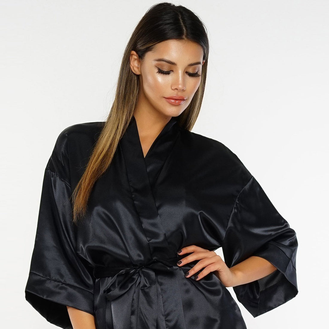 Don't Be Shy Satin Robe - Black