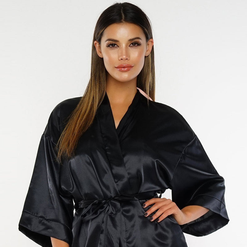 Dose of Roses - Dont Be Shy Satin Robe - Black -