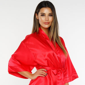 Passionate Lover Satin Robe - Red