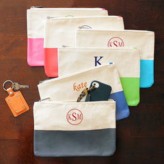 Color Dipped Canvas Clutches