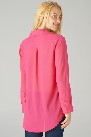 Buttoned Blouse in Fuchsia