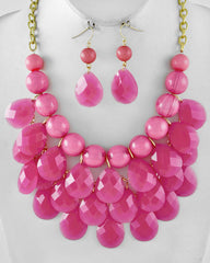 Pink Drop Cluster Necklace