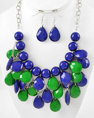 Navy/Green Drop Cluster Necklace