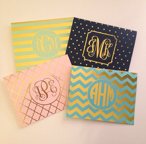 Foil Monogram Chevron Note Cards | Gold or Silver