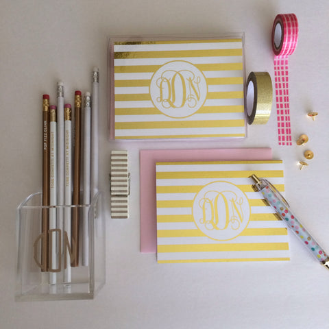 Foil Striped Monogram Note Cards | Gold or Silver