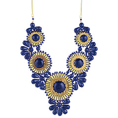 Blue Bead Medallion Bib