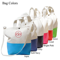 Monogram Color Dipped Canvas Tote
