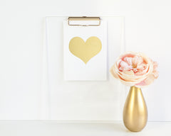 Gold Heart on White Gold Foil Poster Print