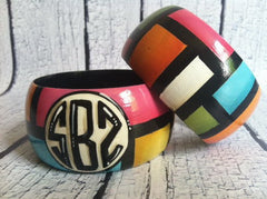 Handpainted Monogrammed Bangle - Colorblock