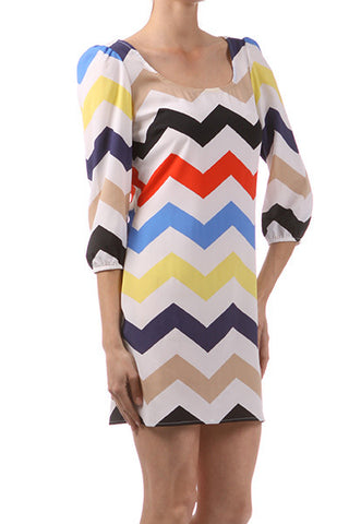 Chevron Dress - Red