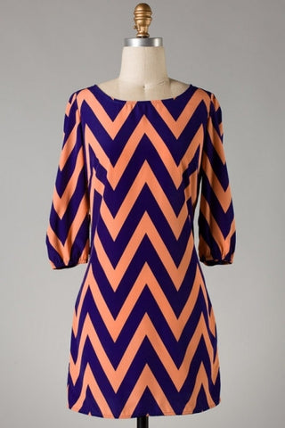 Chevron Dress - Peach