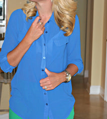 Buttoned Blouse in Blue