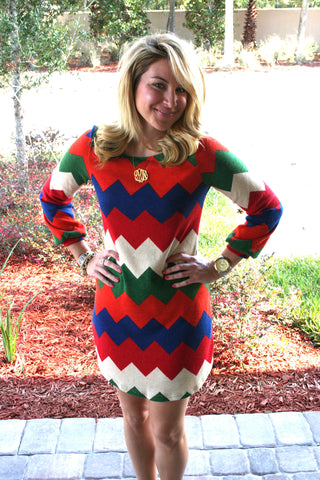 Chevron Dress - Sweater Color