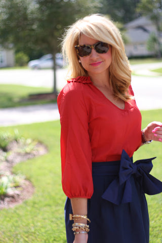 Burnt Ruffle Top