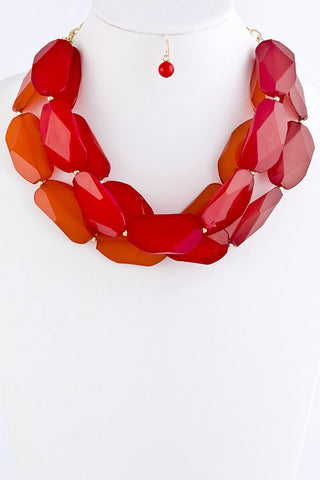 Stacked Jewel Necklace - Coral/Red
