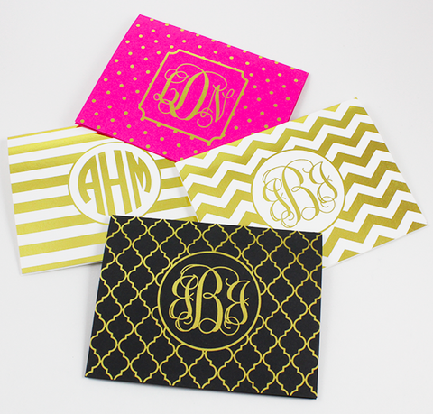 Heart Monogram Foil Note Cards | Gold or Silver