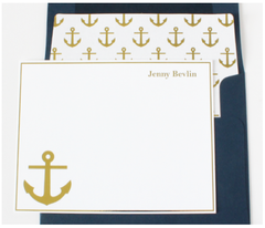 Gold Anchor Personalized Note Cards