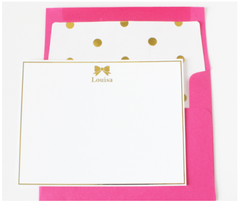 Gold Bow Personalized Note Cards