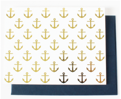 Gold Anchor Folded Note Cards