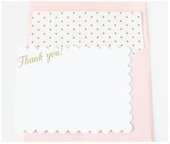 Gold Scalloped Thank You Note Cards