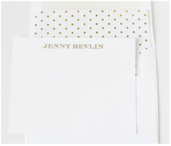 Gold Striped Personalized Note Cards