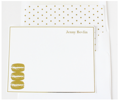 Gold Macaron Personalized Note Cards