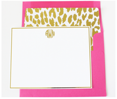 Gold Monogram Leopard Note Cards