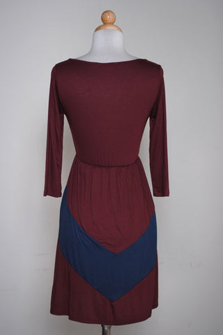 Chevron Day Dress - Wine