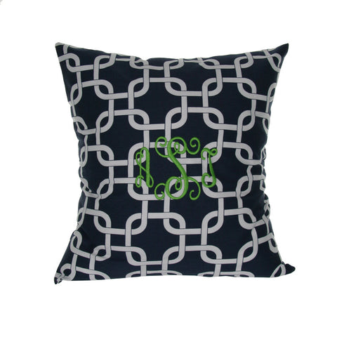 Monogrammed Navy Chain Pillow