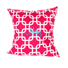 Monogrammed Pink Chain Pillow