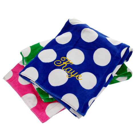 Monogram Polka Dot Beach Towel